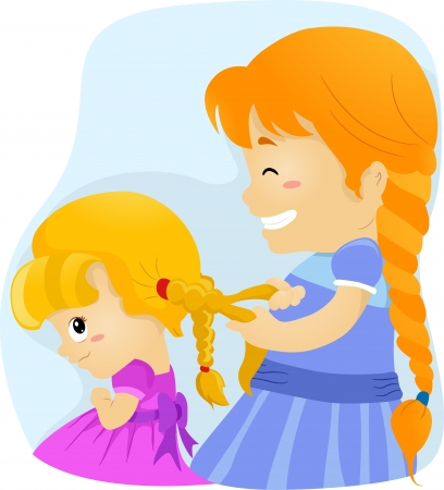 Illustration of a Big Sister Tying Her Younger Sister