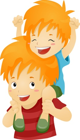 Illustration of a Big Brother Giving His Younger Brother a Piggy Back Ride