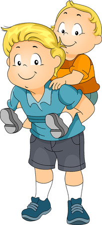 Illustration of a Big Brother Giving His Younger Brother a Piggyback Ride
