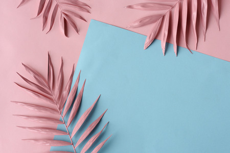 Foto de arrangement of pink palm leaves and colored paper - Imagen libre de derechos