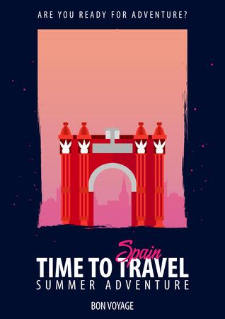 Ilustración de Spain, Europe. Time to Travel. Journey, trip vacation Your adventure Bon Voyage - Imagen libre de derechos