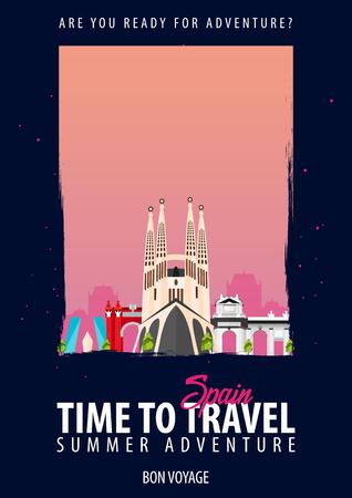 Ilustración de Time to travel to Spain on black background.. - Imagen libre de derechos