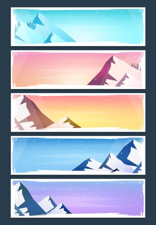 Illustration pour Set of Nature landscape backgrounds with silhouettes of mountains and trees. Vector Illustration - image libre de droit