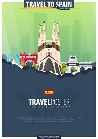 Ilustración de Travel to Spain. Travel and Tourism poster. Vector flat illustration - Imagen libre de derechos