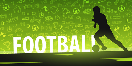 Foto für Football or Soccer design banner with hand draw doodle elements and football player silhouette. Soccer championship. Vector illustration - Lizenzfreies Bild