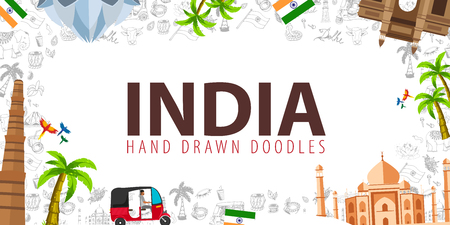 Illustrazione per Travel to India. Indian Hand drawn doodles on background. Vector illustration - Immagini Royalty Free
