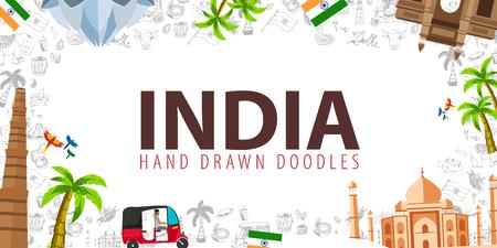 Illustration pour Travel to India. Indian Hand drawn doodles on background. Vector illustration - image libre de droit