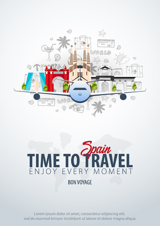 Ilustración de Travel to Spain. Time to Travel. Banner with airplane and hand-draw doodles on the background. Vector Illustration. - Imagen libre de derechos