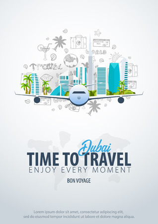 Illustration pour Travel to Dubai, UAE. Time to Travel. Banner with airplane and hand-draw doodles on the background. Vector Illustration - image libre de droit