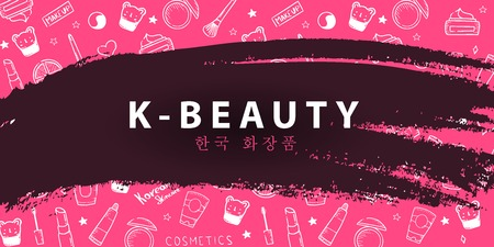 Illustration pour Korean cosmetics. K-Beauty banner with hand draw doodle background. Skincare and Makeup. Translation - Korean Cosmetics. Vector Illustration - image libre de droit