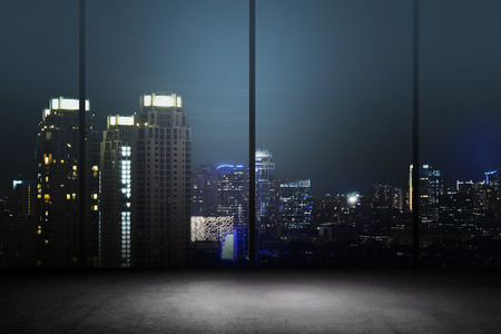 Photo pour Background of office interior with night cityscape - image libre de droit