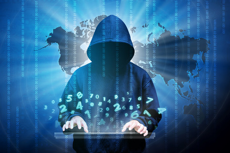 Photo pour Computer hacker silhouette of hooded man with binary data and network security terms - image libre de droit