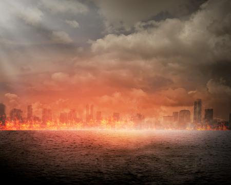 Foto de Burning city. Disaster concept. You can put your design on the city - Imagen libre de derechos