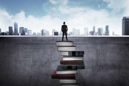 Photo pour Back view business person looking the city, standing on the top of the book. Education for success concept - image libre de droit