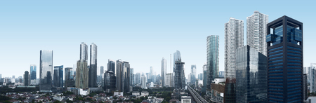 Photo pour Building and traffic of Jakarta city, Indonesia - image libre de droit