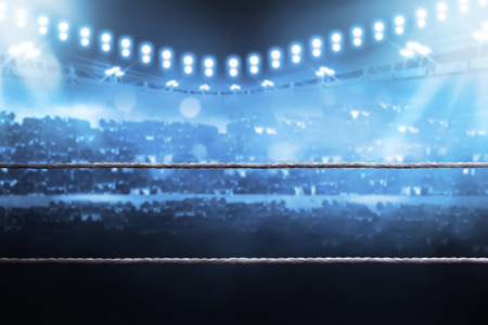 Photo pour Boxing arena with blurred spectator and stadium light - image libre de droit