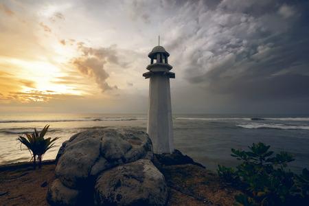 Foto de Lighthouse on the carita beach, banten, indonesia - Imagen libre de derechos