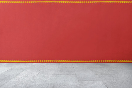 Photo pour Chinese traditional style pattern on red wall with tiled floor - image libre de droit
