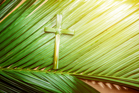 Photo pour Cross shape of palm leaf on palm branches with ray in wooden background. Palm Sunday concept - image libre de droit