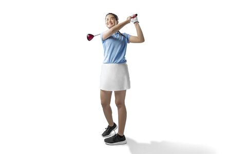 Photo for Asian woman swing the wood golf club isolated over white background - Royalty Free Image