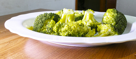 Steamed broccoli in a plate close up