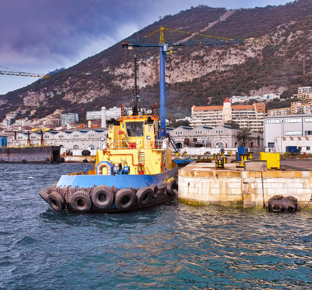 Foto per detail of tug boat in gibraltar ship yard - Immagine Royalty Free