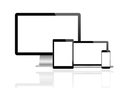 Illustration pour Modern monitor, computer, laptop, phone, tablet - image libre de droit
