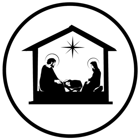 Illustrazione per Christmas Christian nativity scene with baby Jesus in the manger in silhouette, star of Bethlehem vector eps 10 - Immagini Royalty Free