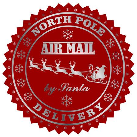 Illustration pour North Field delivery by Santa post stamp. - image libre de droit