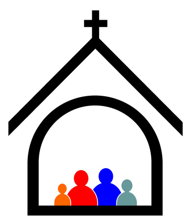 Illustration pour Church family concept vector eps 10 - image libre de droit