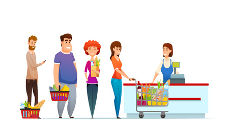 Illustration pour Customer queue people shopping in supermarket at cash desk with cashier vector illustration isolated on white background. - image libre de droit