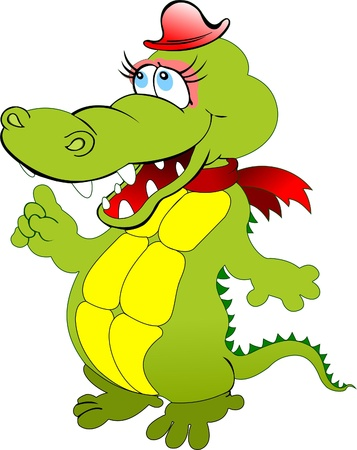 Funny green cartoon crocodile with red hat. Vector illustration