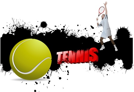 Grunge tennis poster with tennis ball and player, illustration