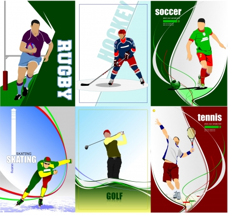 Six sport posters. Football, Ice hockey, tennis, soccer, rugby, golf, skating. Vector illustration