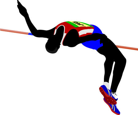 Photo for Man high jumping. Track and field. Vector illustration - Royalty Free Image