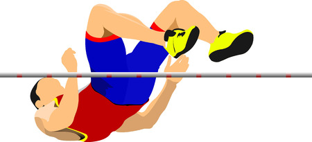 Foto de Man high jump. Sport. Track and field. Vector illustration - Imagen libre de derechos