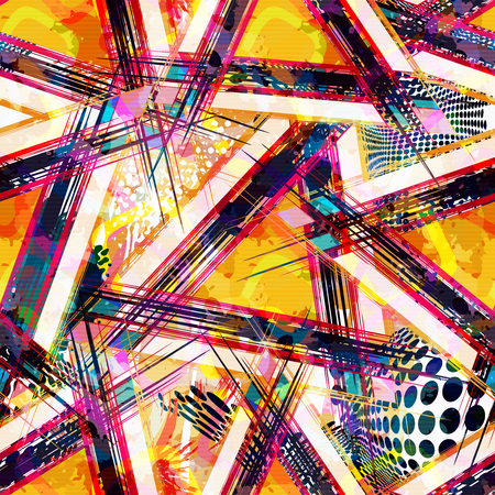 Photo pour Bright abstract geometric seamless pattern in graffiti style. Quality vector illustration for your design - image libre de droit