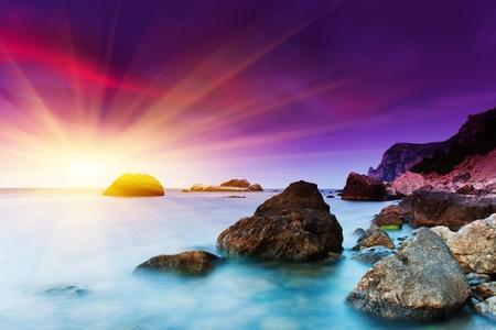 Foto de Beautiful summer sunset over the sea. HDR image - Imagen libre de derechos