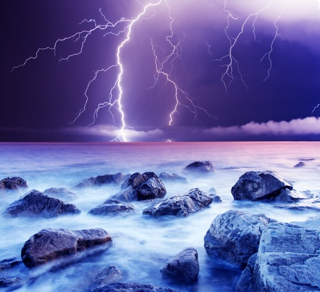 summer storm beginning with lightning