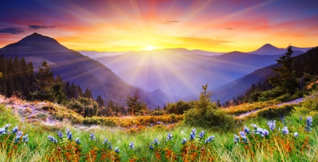 Photo for Majestic sunset in the mountains landscape. HDR image - Royalty Free Image