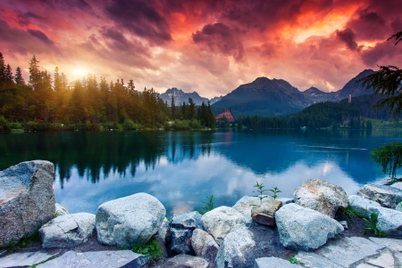 Mountain lake in National Park High Tatra  Dramatic overcrast sky  Strbske pleso, Slovakia, Europe  Beauty world