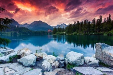 Photo for Mountain lake in National Park High Tatra. Dramatic overcrast sky. Strbske pleso, Slovakia, Europe. Beauty world. - Royalty Free Image