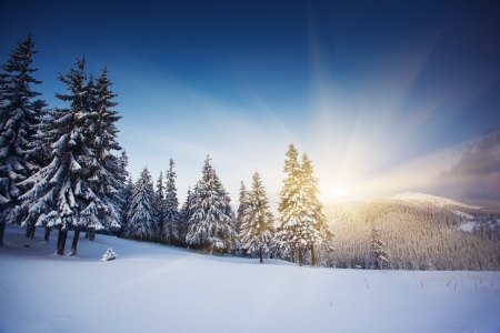 Photo pour Majestic sunset in the winter mountains landscape. HDR image - image libre de droit