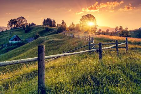 Foto de Fantastic morning countryside landscape. Colorful sky. Carpathian, Ukraine, Europe. Beauty world. - Imagen libre de derechos