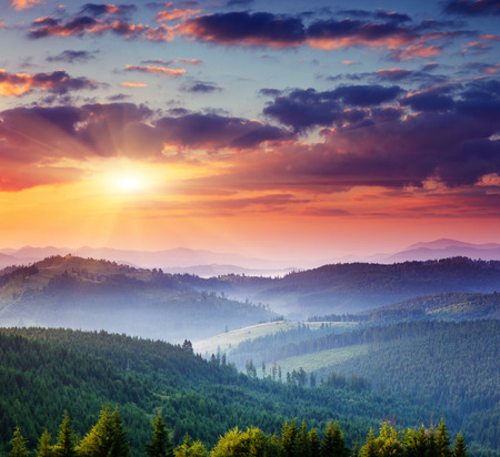 Photo for Majestic sunset in the mountains landscape.Carpathian, Ukraine. - Royalty Free Image