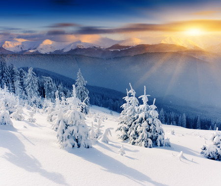 Photo for Majestic sunset in the winter mountains landscape. Dramatic sky. - Royalty Free Image