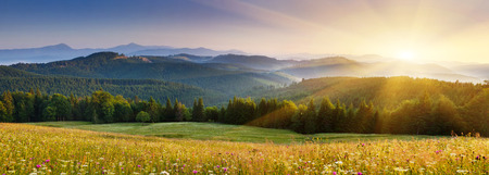 Foto de Majestic sunset in the mountains landscape.Carpathian, Ukraine. - Imagen libre de derechos