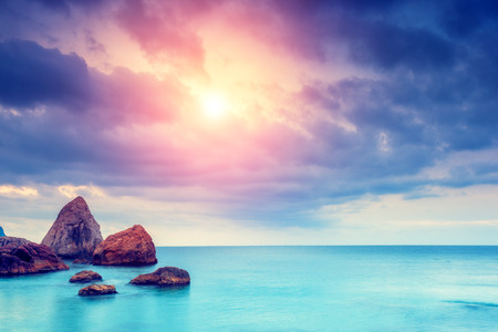 Photo pour Fantastic morning blue sea glowing by sunlight. Dramatic scene. Black Sea, Crimea, Ukraine, Europe. Beauty world. Retro style filter.  - image libre de droit