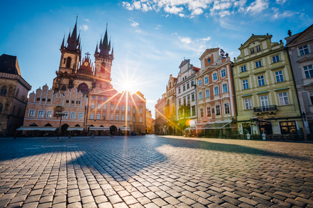 Photo for Fantastic view of the Temple of Our Lady before Tyn in sunlight at dawn. Picturesque scene. Location famous place (unesco heritage) old town square on Prague, Czech Republic, Europe. Beauty world. - Royalty Free Image