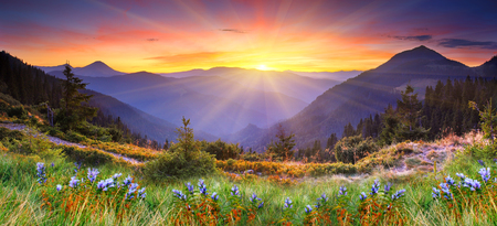Foto de Majestic sunset in the mountains landscape. HDR image - Imagen libre de derechos